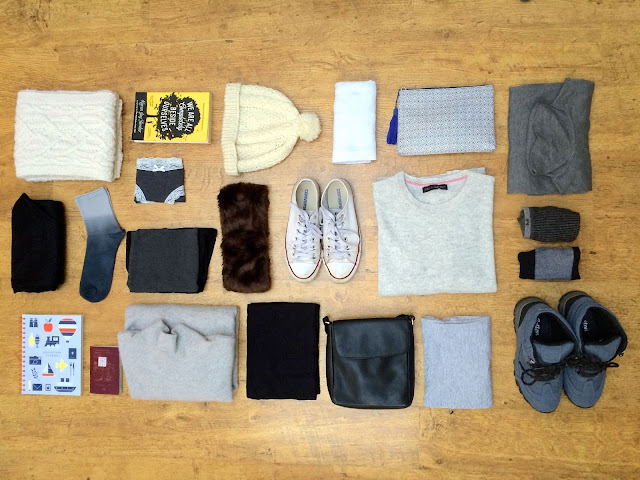 packing only hand luggage flat lay