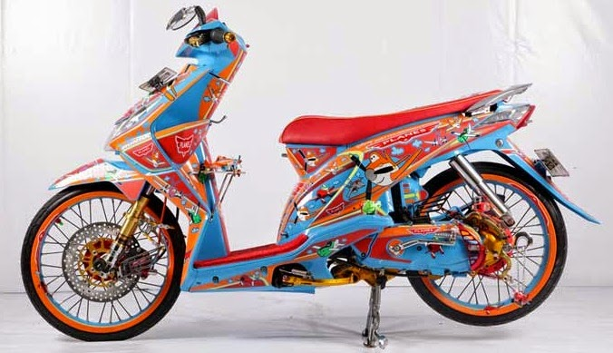 motor modifikasi beat biru