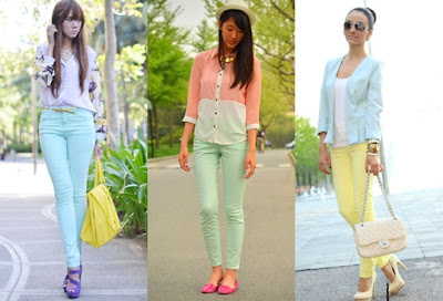 calça coloridas moda candy color