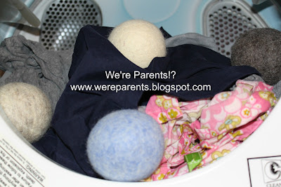 Picture of LooHoo Wool Dryer Balls in the laundry
