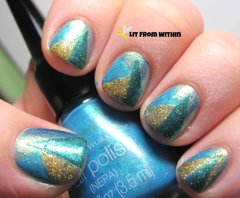 added more triangles with gold glitter and blue shimmer stripers