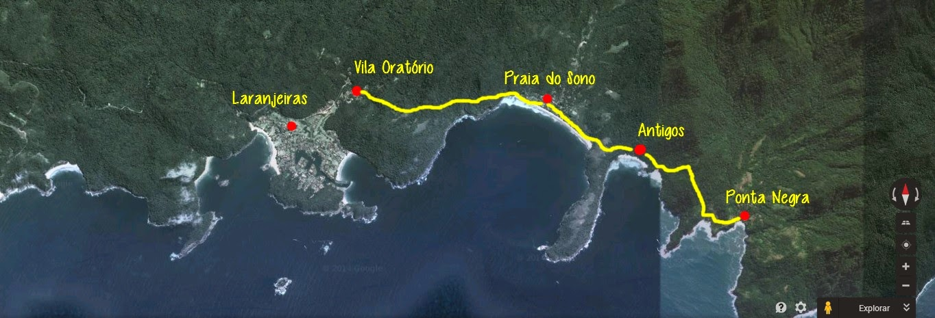 Mapa desde Laranjeiras a Ponta Negra, Travessia da Joatinga