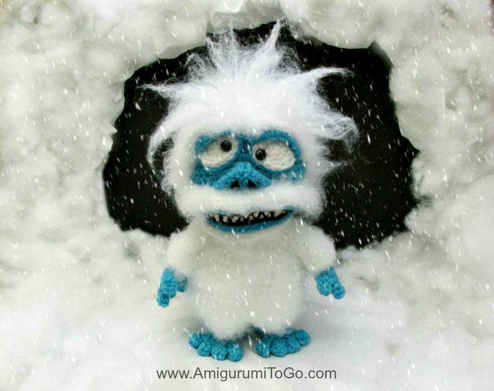 crochet white yeti monster