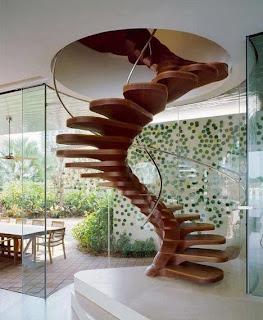Decoração, escada em caracol, madeira, escada de madeira