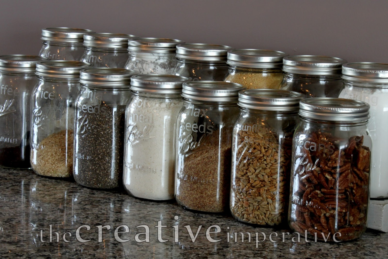 The creative imperative mason jar storage for the kitchen for Mason jar kitchen ideas