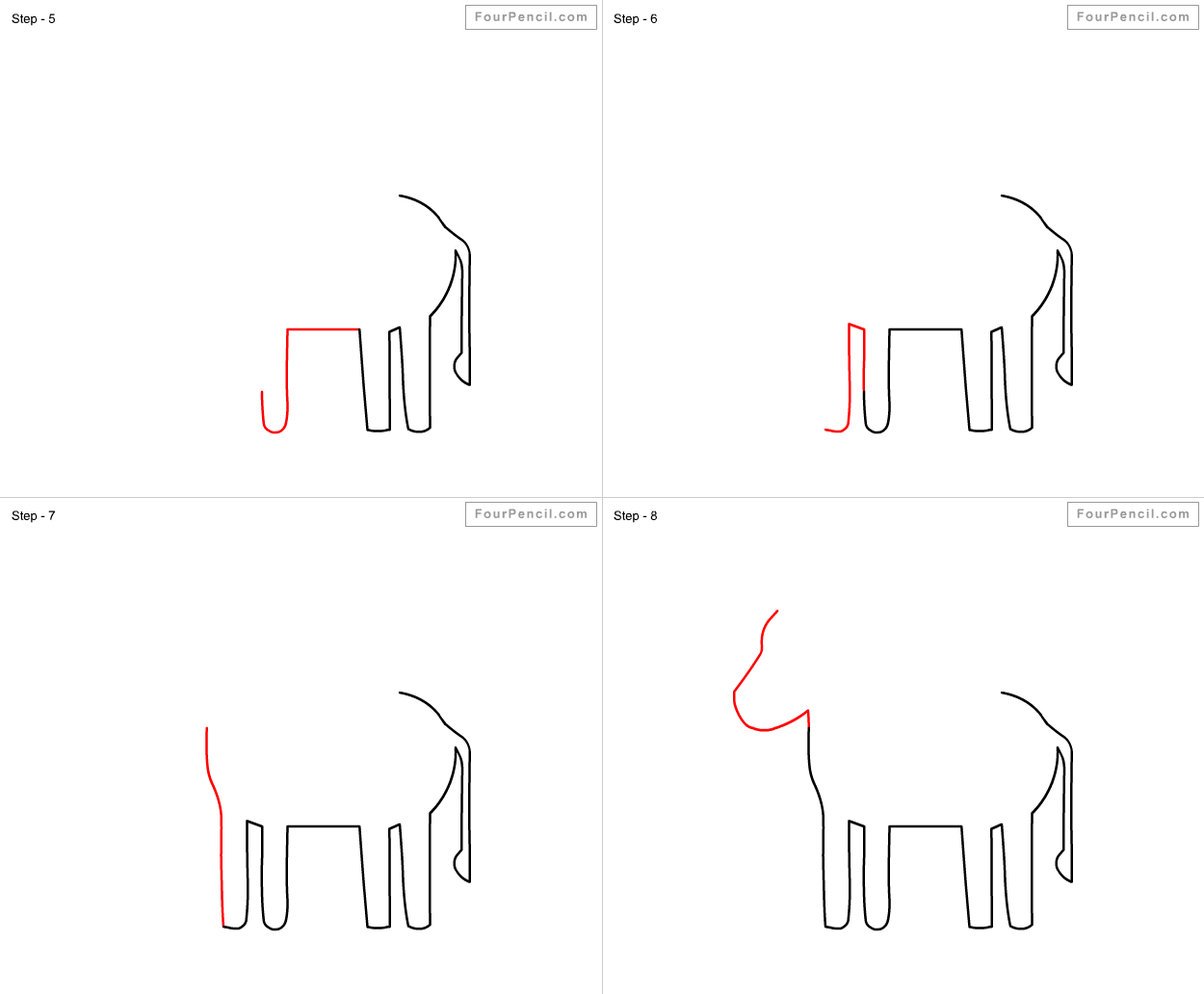 fpencil how to draw donkey for kids step by step
