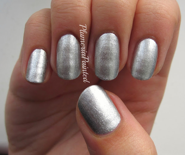 plumeriapainted silver nails