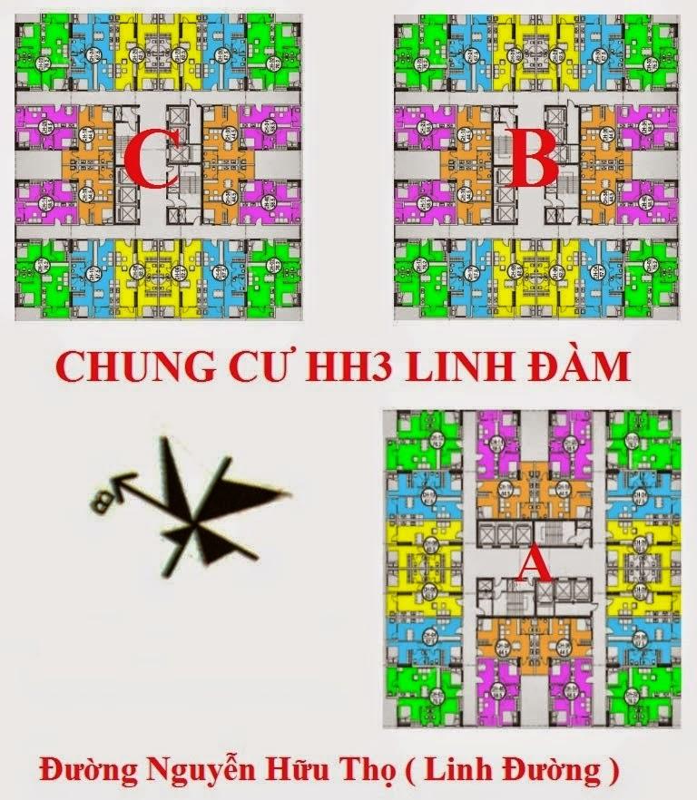 Thiết kế tổng thể 3 tòa A, B,C chung cư Hh3 Linh Đàm