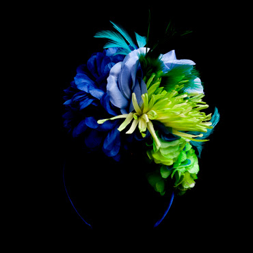 Bright floral headband featuring green and blue flowers