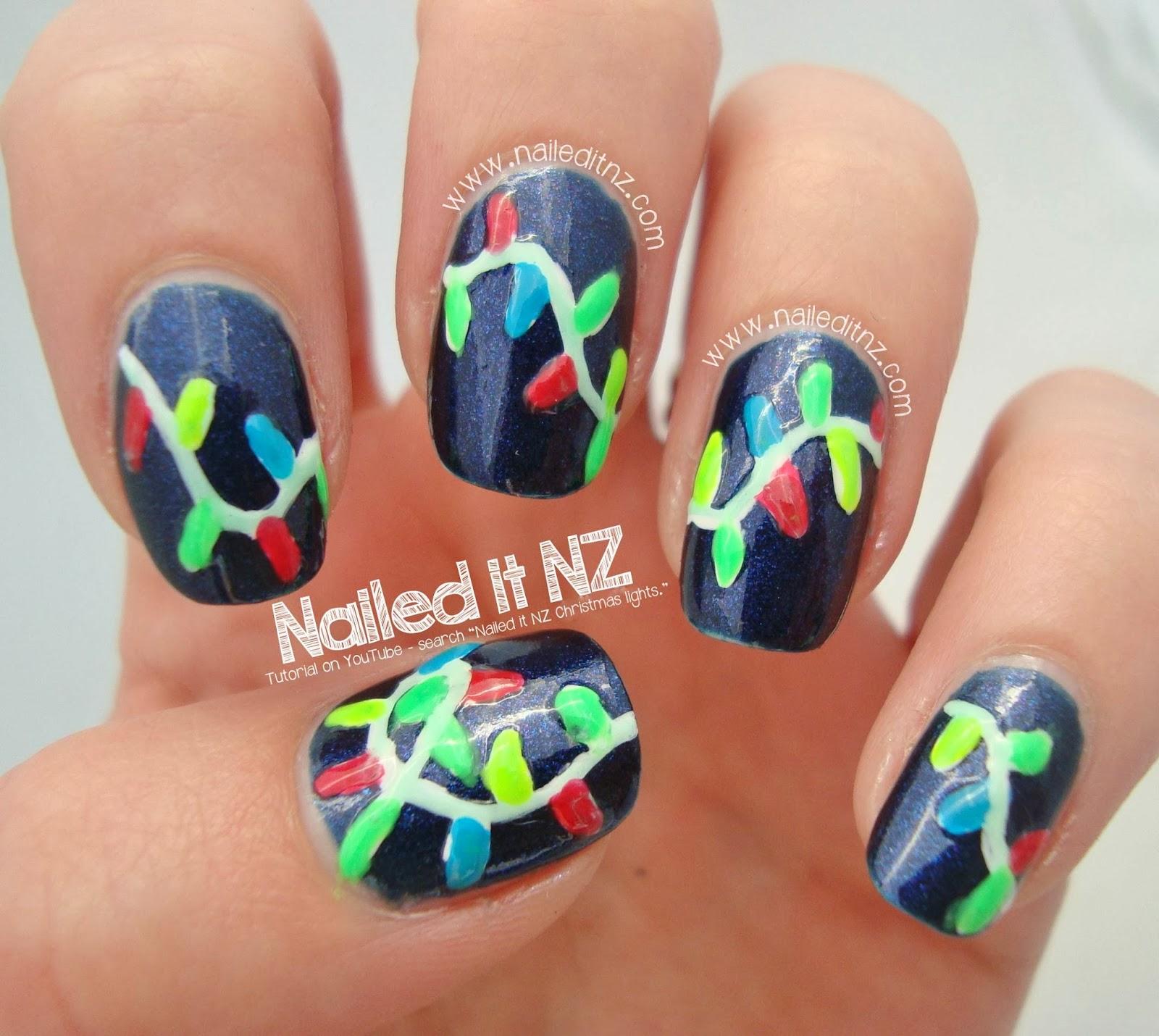 christmas lights nail art tutorial 12 days of christmas