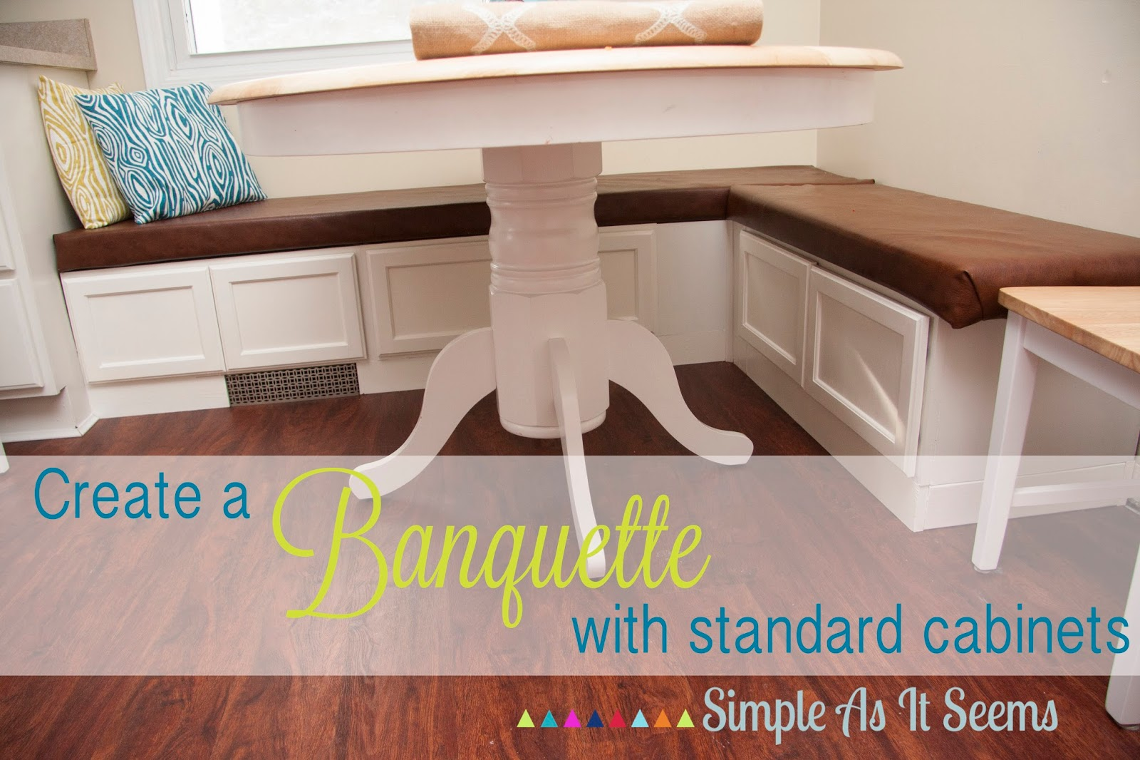 Simple as it seems diy kitchen banquette seating from cabinets - Kitchen bench diy ...