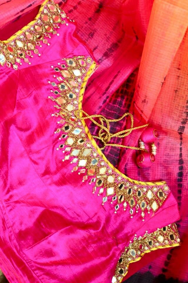 Saree blouse book mirror work for Mirror work saree