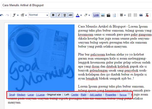 Cara Memasukkan image di artikel blogspot