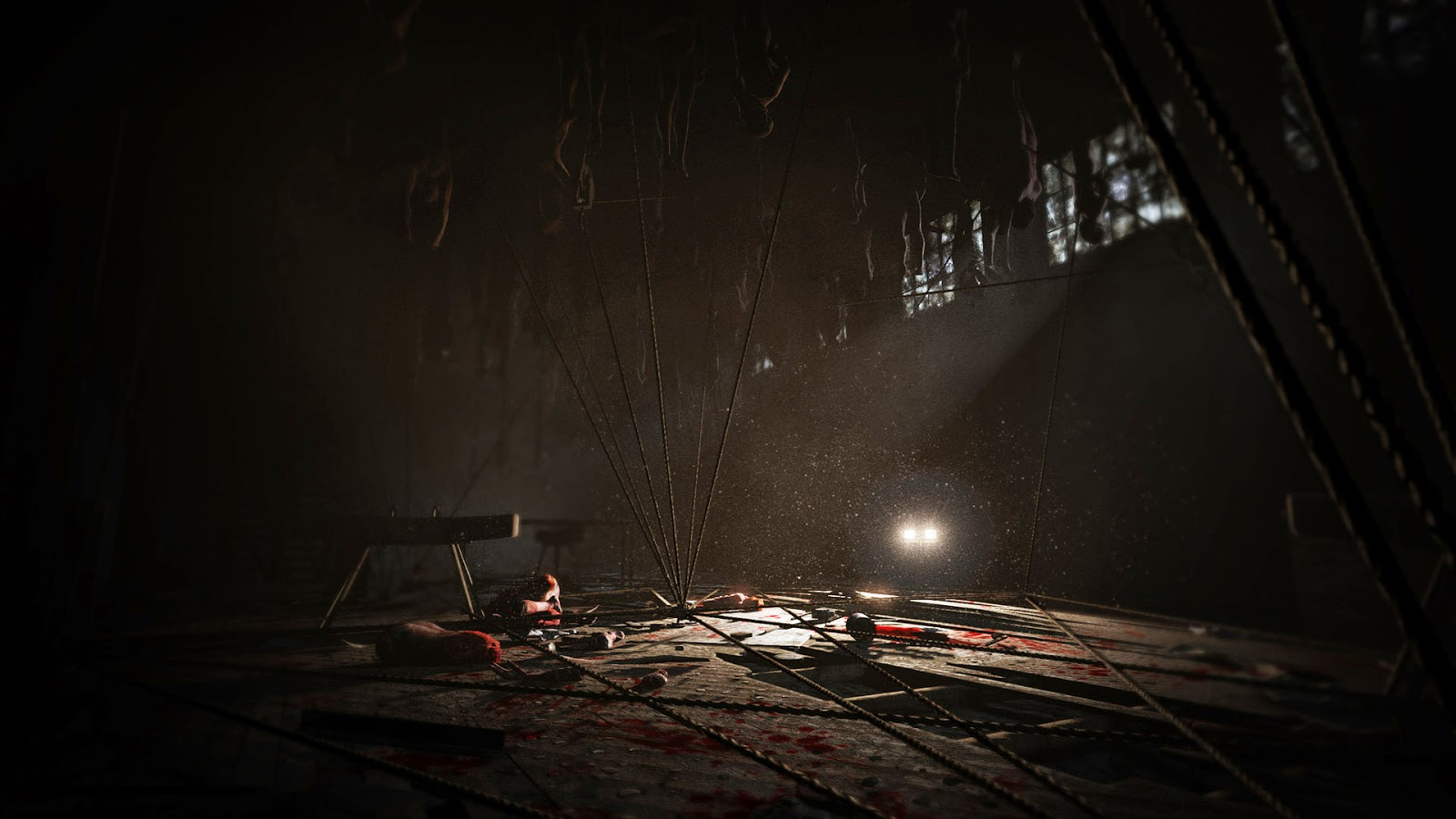 Outlast DLC Whistleblower Screenshot gynasium filled with hung bodies