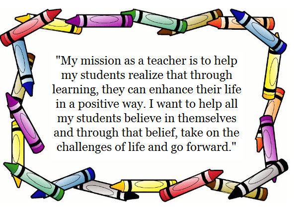 personal vision statement for teachers