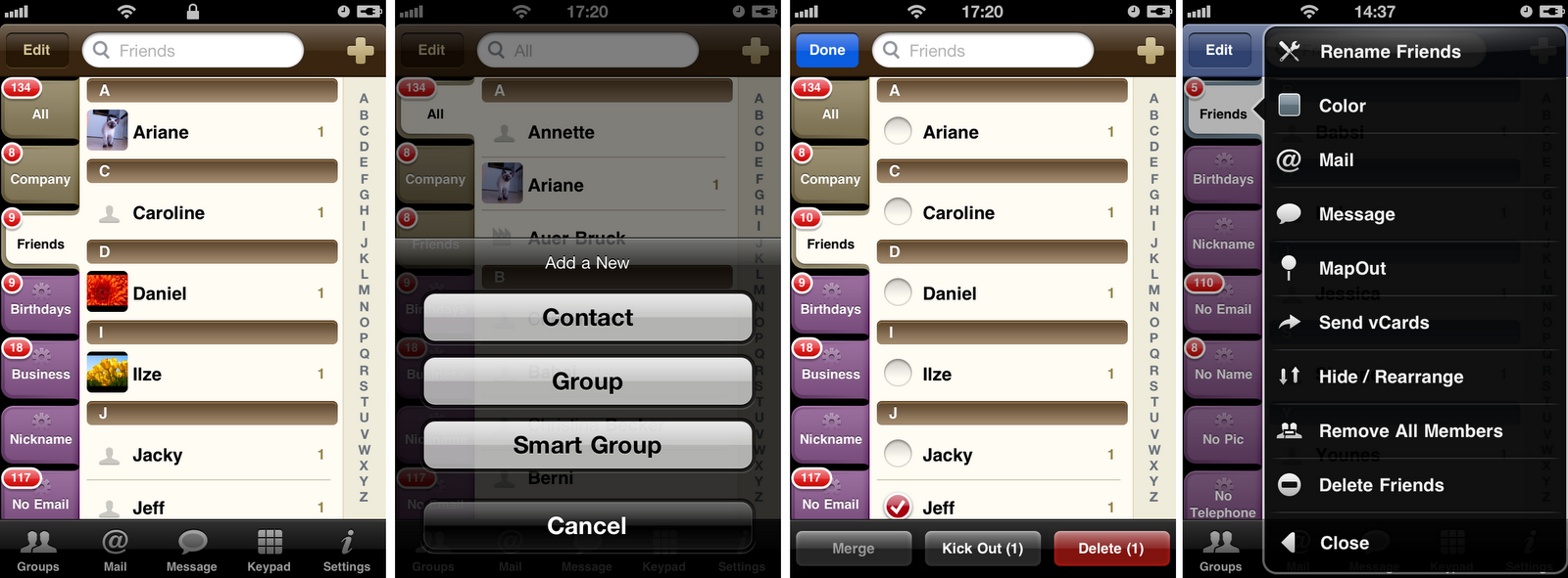 how to delete contacts in groups on an iphone