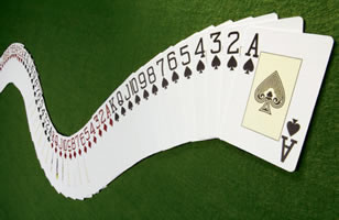 playing Card deck splayed fanned out in numeric order