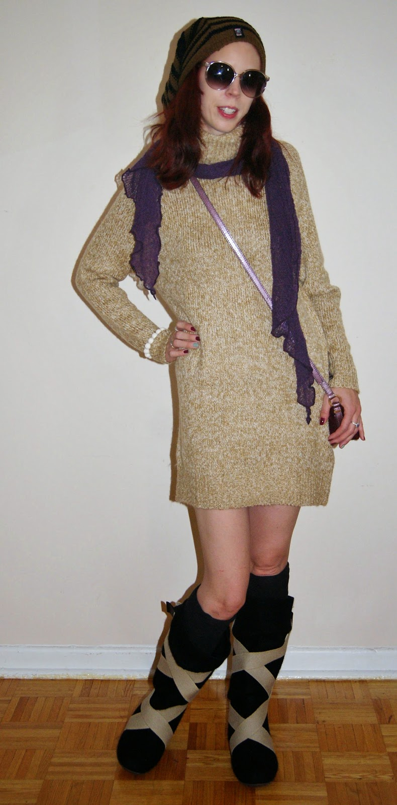 My Style!: Warm + Chic: H+M Sweater Dress, Lahtiset ryppy wool felt boots, Aarika Pohjola Wooden Bracelet from Uniiki, Guess Purse, Purple Scarf, fashion, styletips, shopping, toronto, canada,ontario, outfit, winter, the purple scarf, melanieps, finland, finnish, design, aki choklat,, pug gear, toque