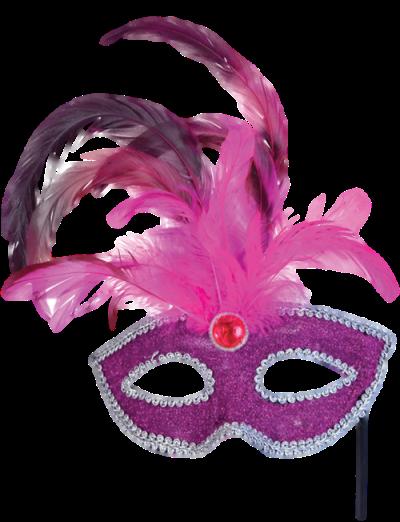 Máscara Carnaval PNG - Brilhantes e plumas pink