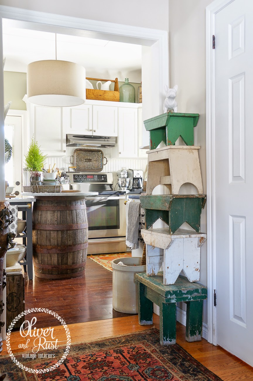 Stack of green and cream stools from Oliver and Rust | Friday Favorites at anderson + grant