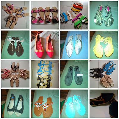 Different shoes: Sandals, Slippers, Flats and peep toes