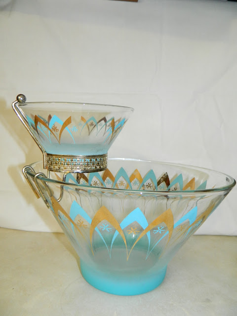 1950s atomic aqua gold chip dip Just Peachy, Darling