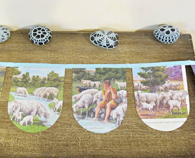 image domum vindemia bunting the lord is my shepherd psalm 23 religious christian sheep decoration light blue