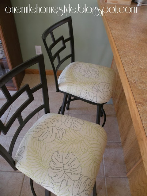 Bar stools with white botanical print fabric