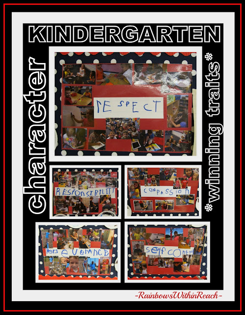 photo of: Kindergarten Character traits captured in Photographs on Bulletin Board