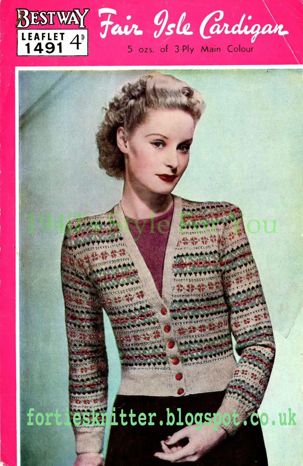 1940's Knitting - Bestway No.1491 Fair Isle Cardigan free knitting pattern