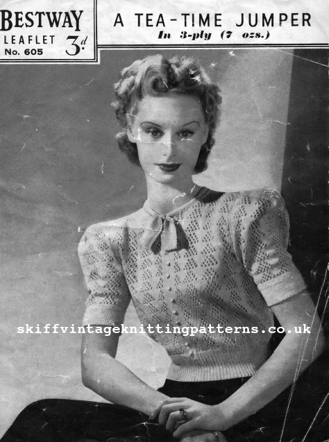 Free 1930's Knitting Pattern- Tea Time Jumper