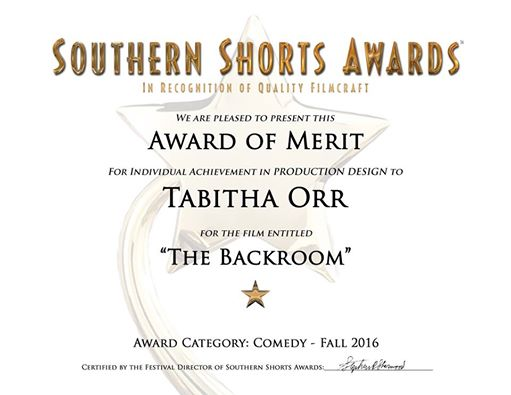 Tabitha Orr, Production Design, 'The Backroom'