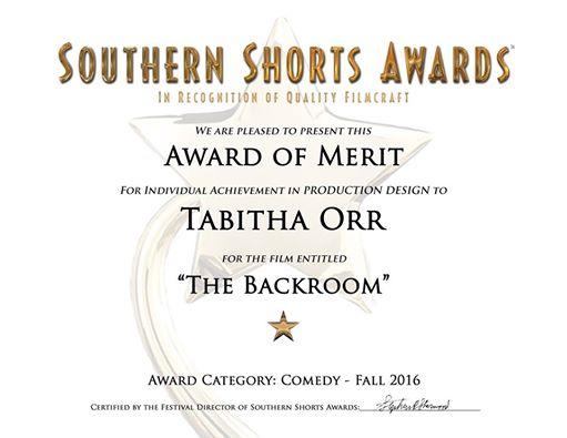 Tabitha Orr, Production Design, 'The Backroom'