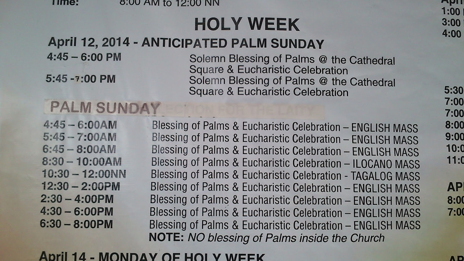 2014 Palm Sunday Schedule at Baguio Cathedral