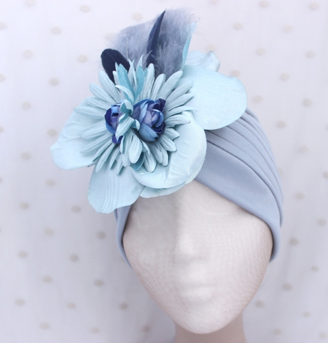 Colección Buceando - Turbante gris flor