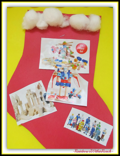 Stocking Stuffer Bulletin Board in Preschool via RainbowsWithinReach