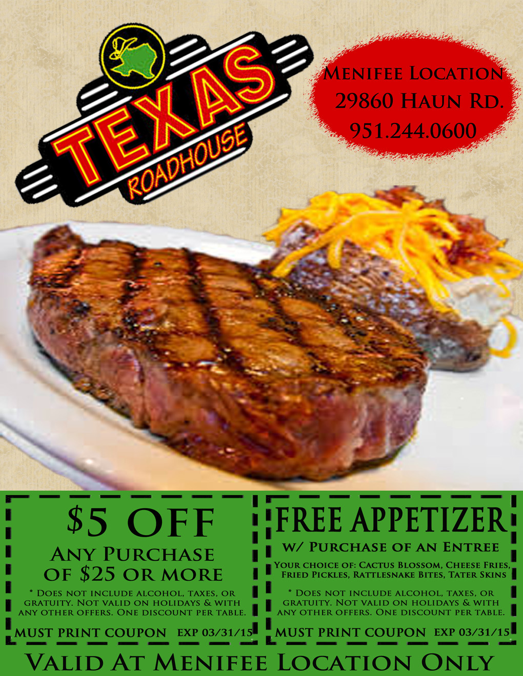 image regarding Texas Roadhouse Free Appetizer Printable Coupon known as Free of charge texas roadhouse coupon codes