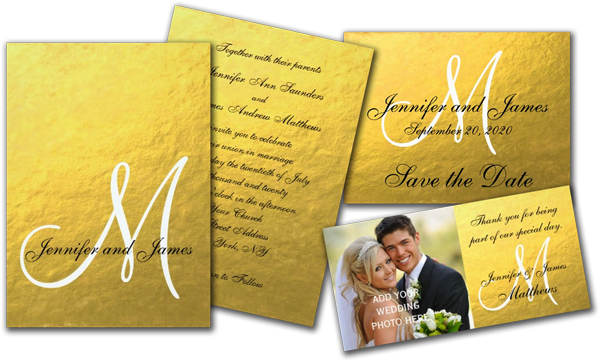 Elegant Gold Black Wedding Invitation