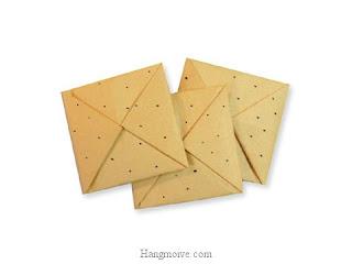 Cách gấp, xếp cái bánh quy bằng giấy origami - Video hướng dẫn xếp hình đồ ăn - How to fold a Biscuit