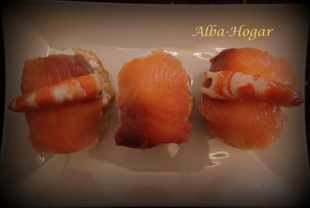 pincho de cangrejo salmón y langostino alba hogar