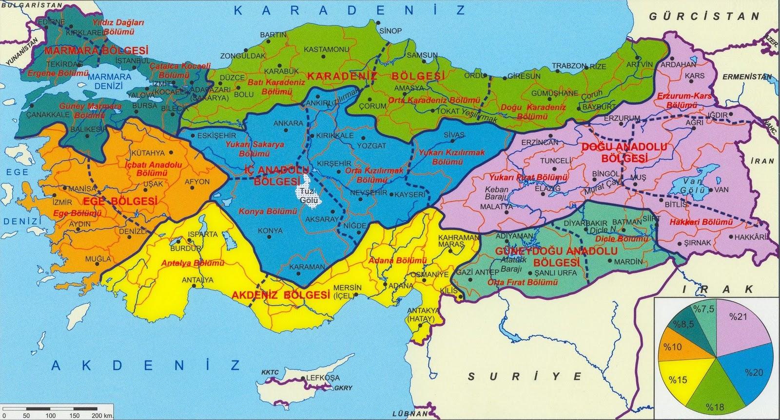Türkiye bölgeler haritası kaliteli büyük boyutlu