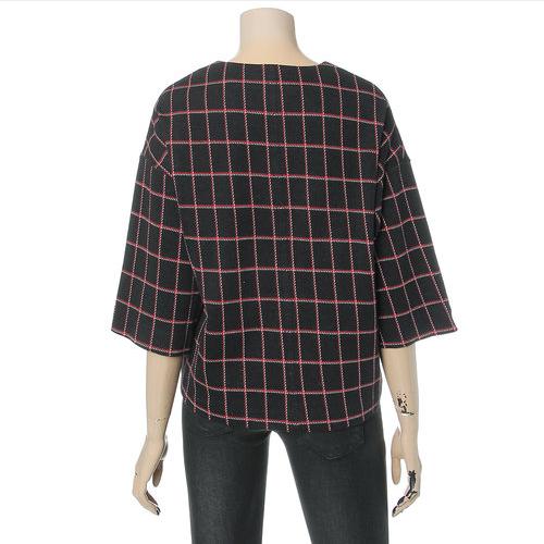 Deep V-Neck Checked Blouse