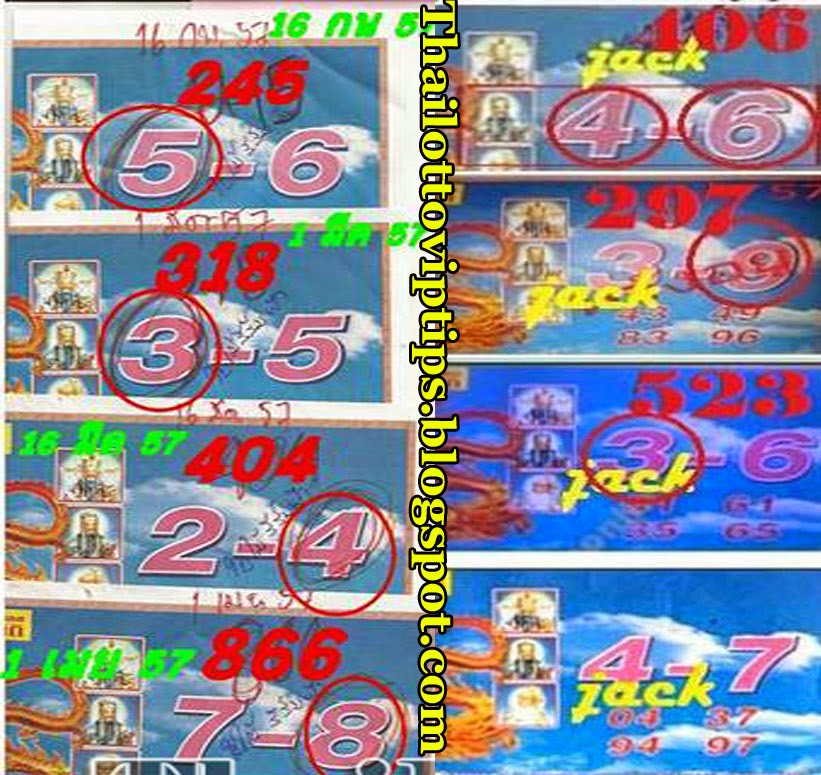 Thai Lotto Special Tip Paper 01-06-2014