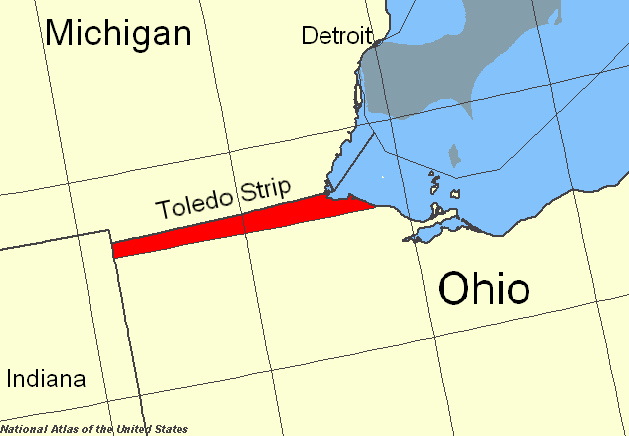 Map of known as the toledo strip