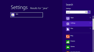 Search Java Control Panel in Settings