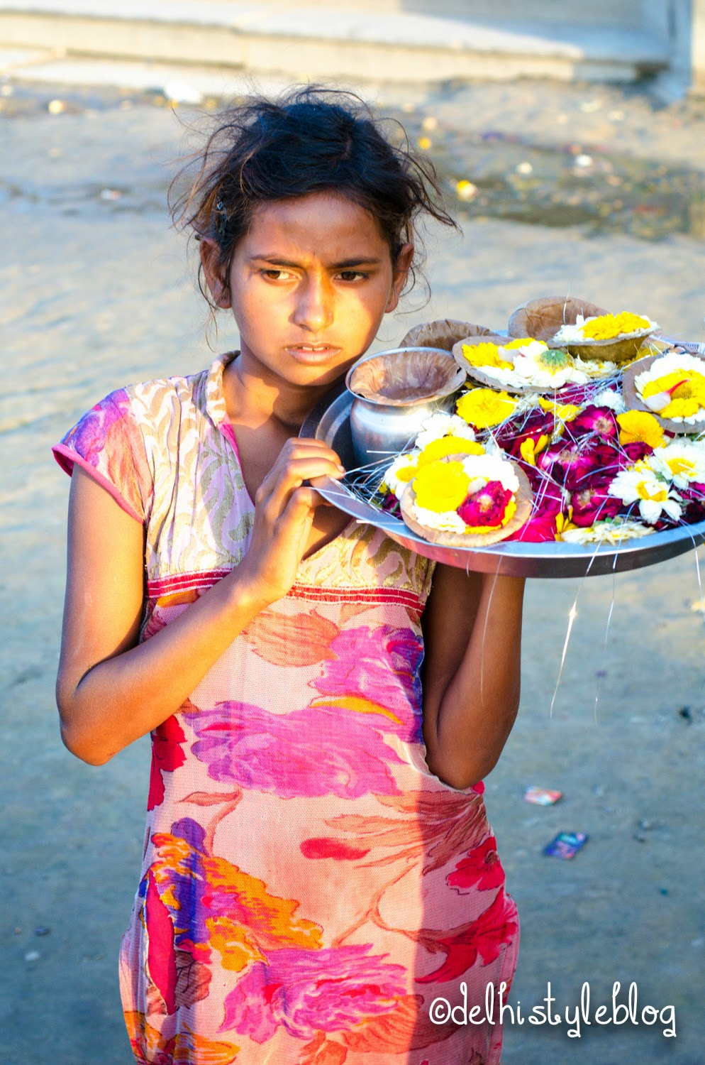 Flower child at Keshi ghat Vrindavan