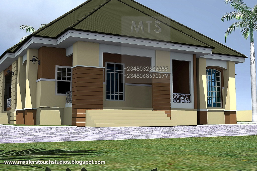 Simple four bedroom bungalow placement home plans for Four bedroom bungalow design
