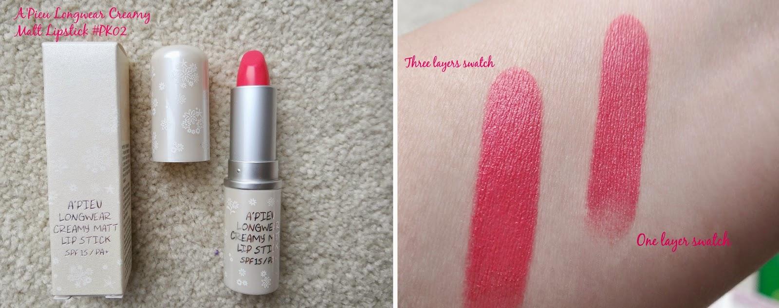 A'pieu Longwear Cream Matt Lipstick PK02, creamy lipstick, matte lipstick