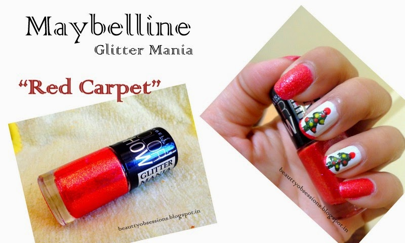 "Maybelline ColorShow Glitter Mania Nail Polish ""Red Carpet"" Review & A Nail Art Inspired By Christmas"