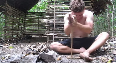 Watch man build the most beautiful primitive wattle and daub hut from scratch